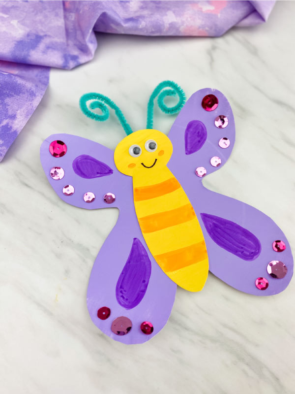 purple paper plate butterfly
