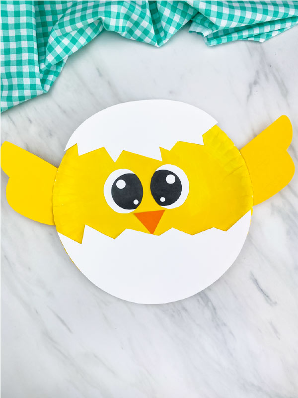 one paper plate chick with wings