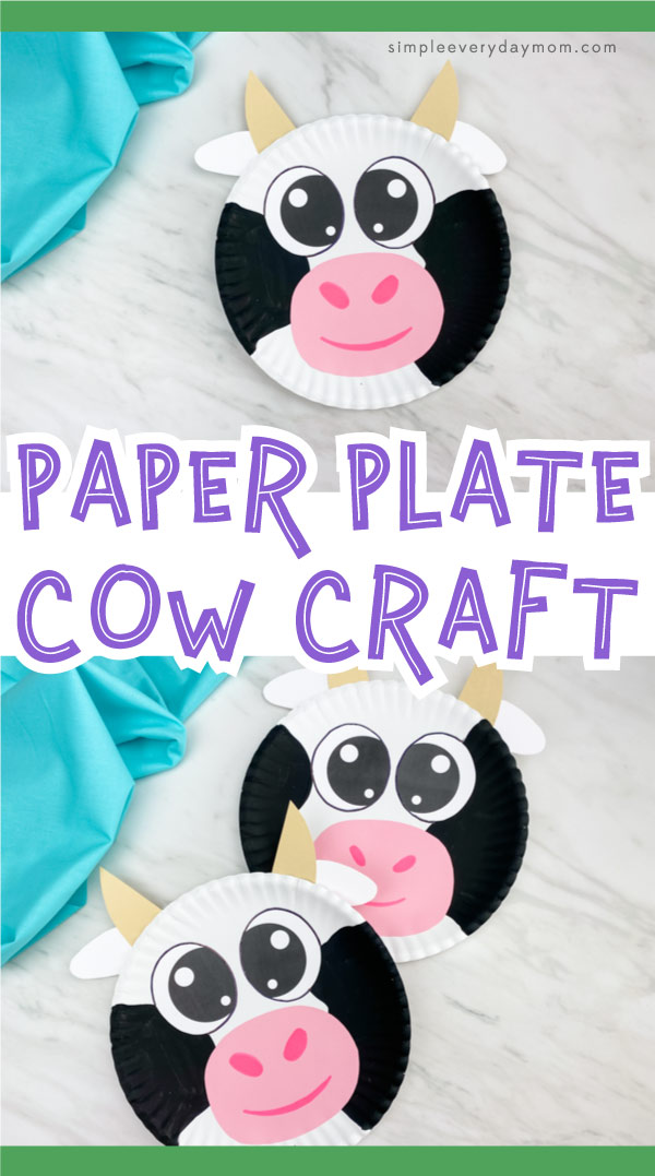 "Paper plate cow image collage with the words ""paper plate cow craft"" in the middle"