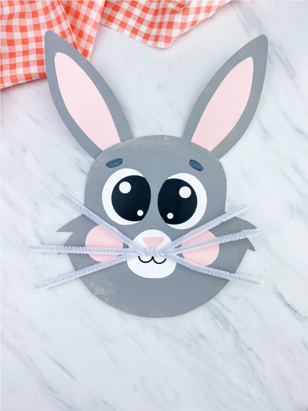 gray paper plate easter bunny
