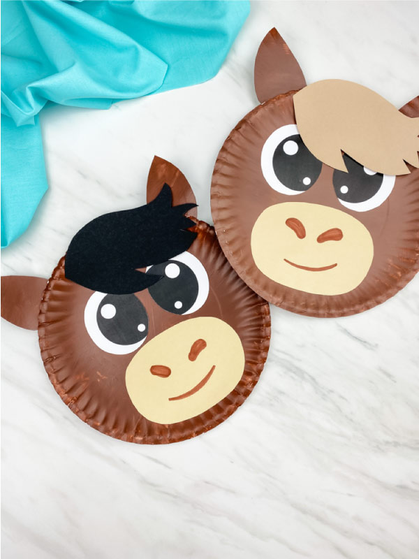 two paper plate horses