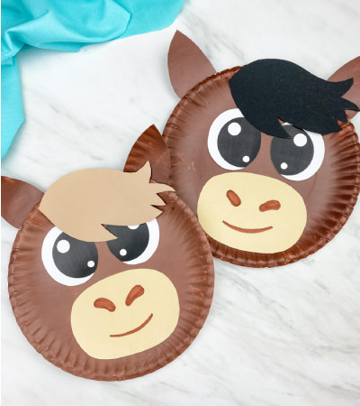 Two paper plate horse crafts