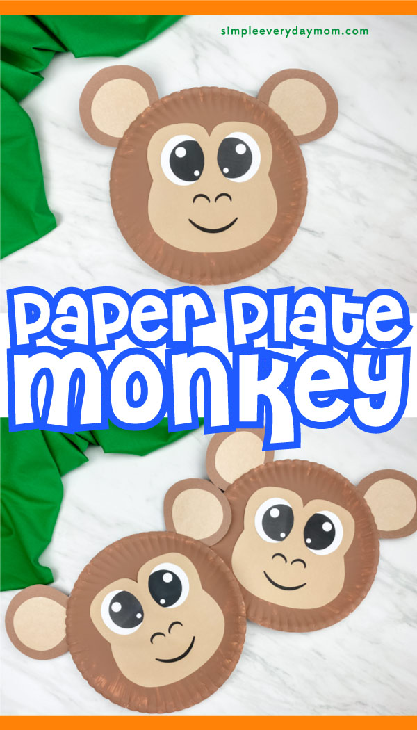 "paper plate monkey craft collage image with the words ""paper plate monkey"" in between"