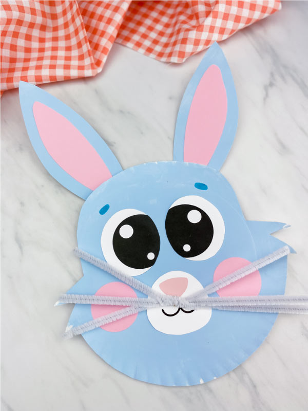 blue paper plate easter bunny
