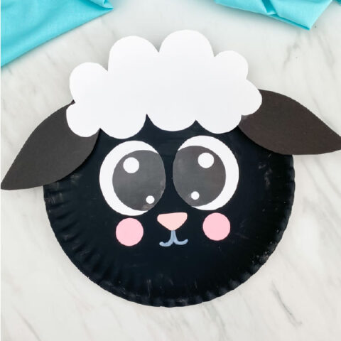 black paper plate sheep
