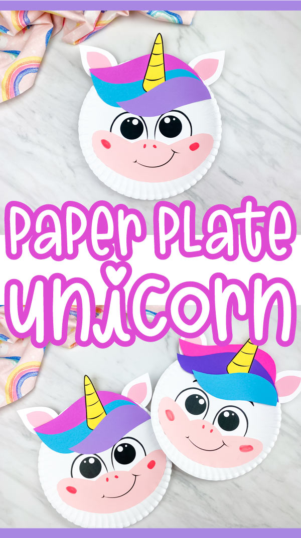 "collage of paper plate unicorn craft with words ""paper plate unicorn"" in middle"