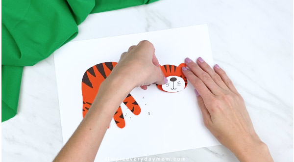 hands gluing tiger mouth area to head