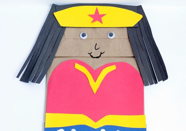 Wonder Woman Paper Bag Puppet Craft for Kids