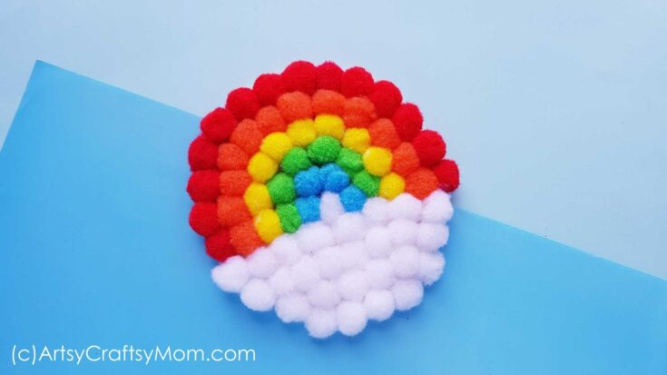 Easy Pom Pom Rainbow Craft