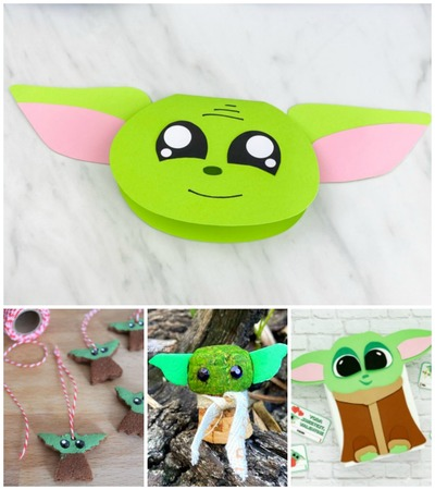 Collage of baby yoda crafts
