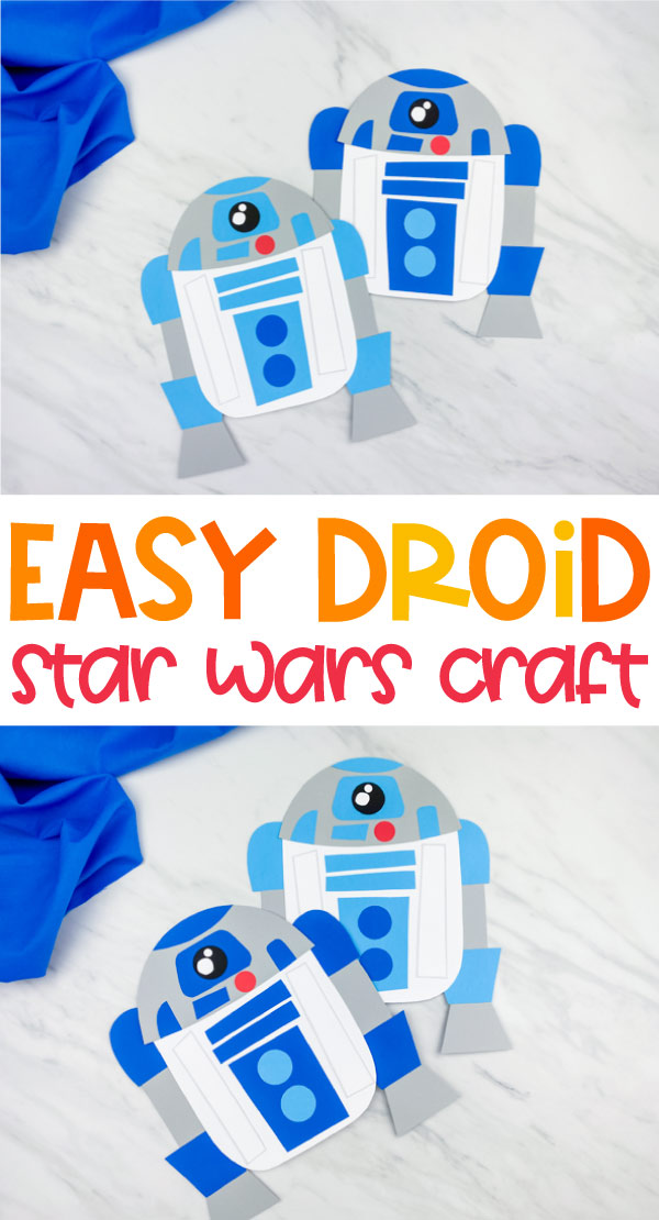 "collage of R2D2 paper craft images with the words, ""easy droid star wars craft"" in middle"