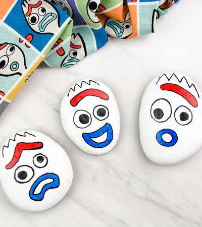 3 Forky painted rocks