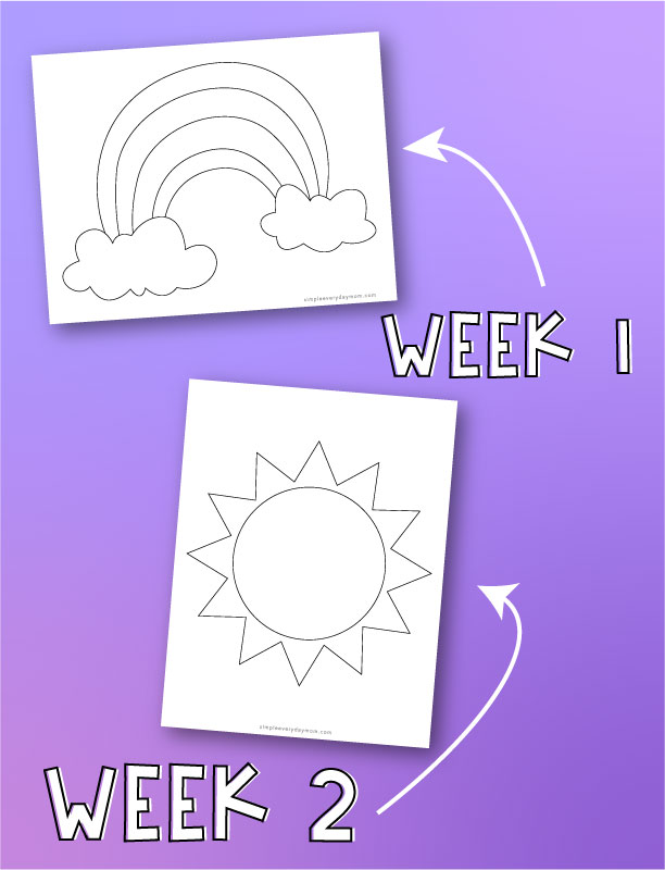 "rainbow and sun coloring pages with arrows pointing to both with words ""week 1"" and ""week 2"""