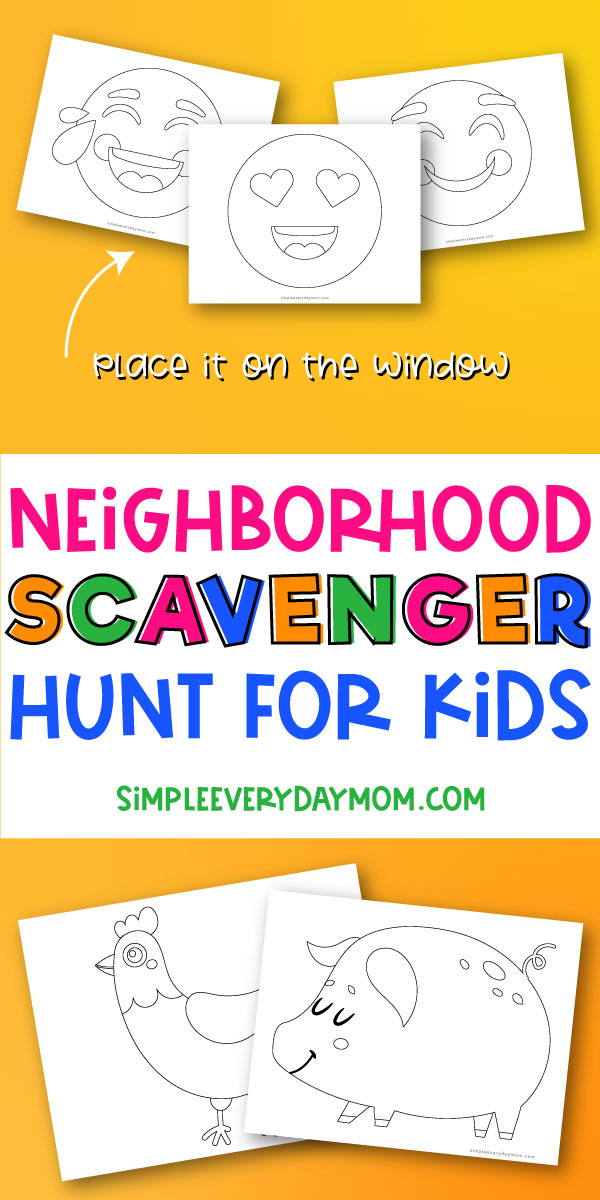"collage of black and white images with ""neighborhood scavenger huntinghandmade for kids"" in middle"