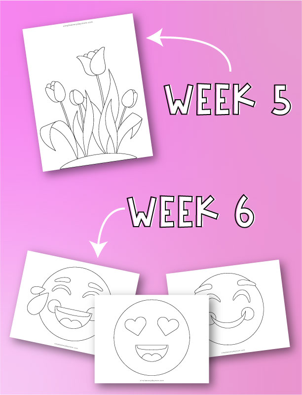 "flowers, laughing emoji, heart eyes emoji and smiling emoji coloring pages with arrows pointing to both with words ""week 5"" and ""week 6"""