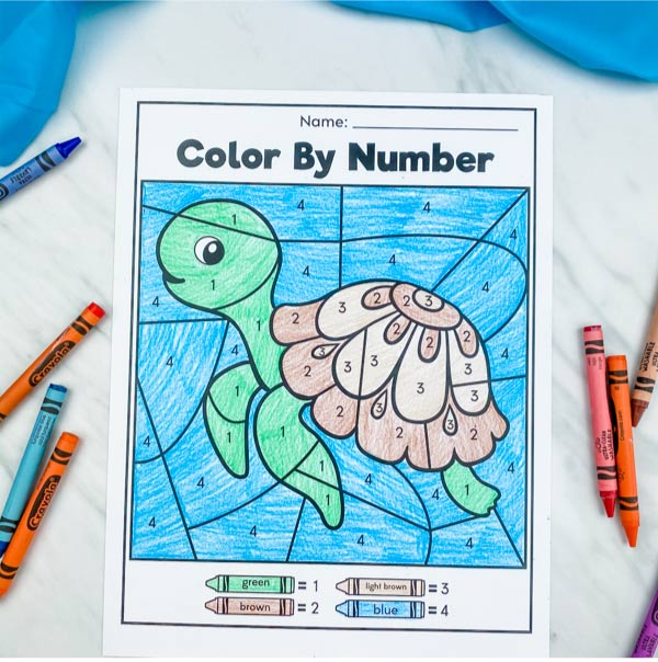 sea turtle color by number with crayons scattered around