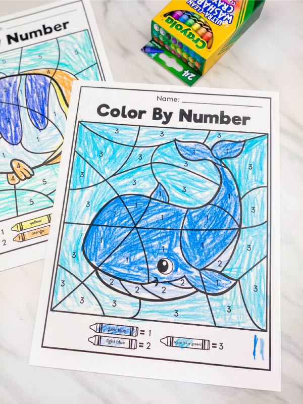 whale color by number with box of crayons in corner