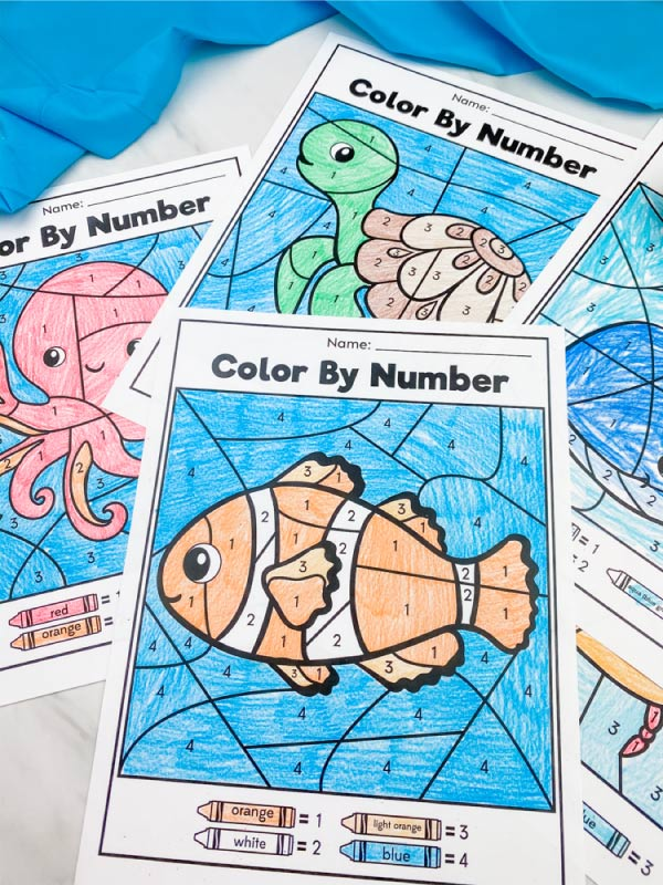 closeup of clownfish, octopus and turtle color by number