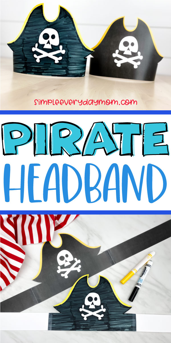 "collage of images of pirate headbands with words ""pirate headband"" between them"