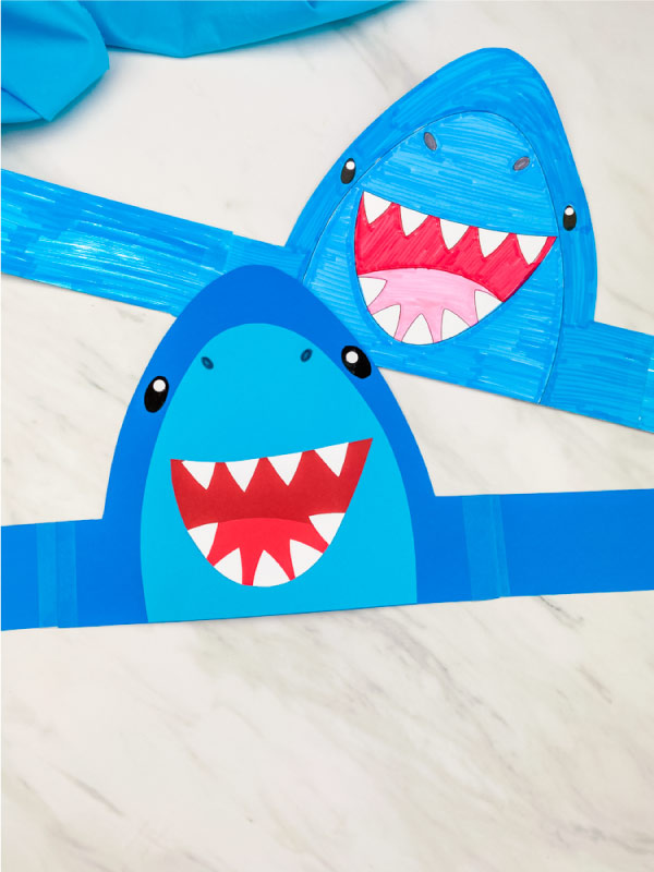 two shark headbands laying on marble background