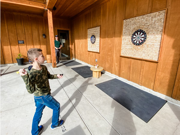 child throwing darts