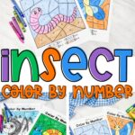 insect color by number worksheet collage with crayons