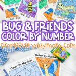 long collage of colored in color by number worksheets and crayons
