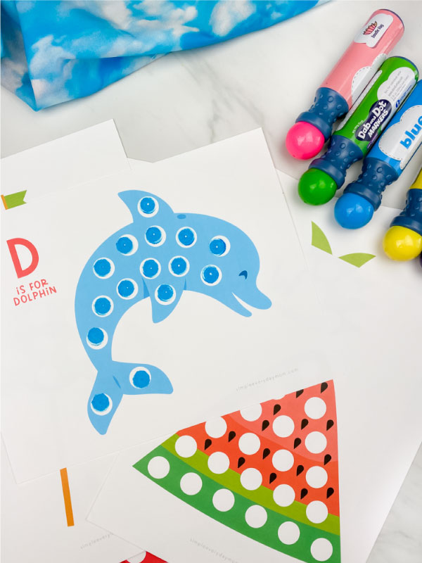 dolphin and watermelon dot marker printables with dot markers