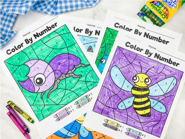 beetle and bee color by number worksheets