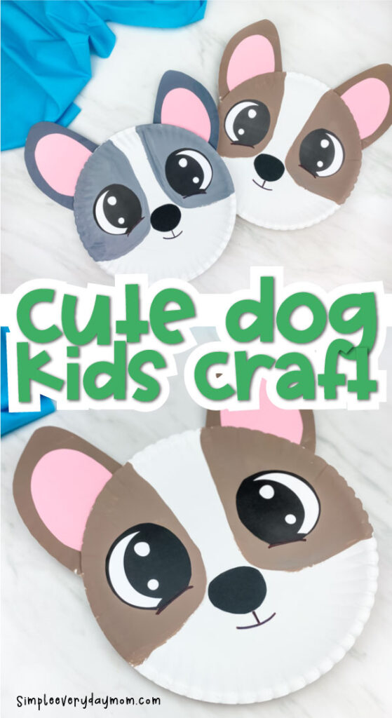 """collage of two paper plate dog craft pictures with the words """"cute dog kids craft"""" in the middle"""