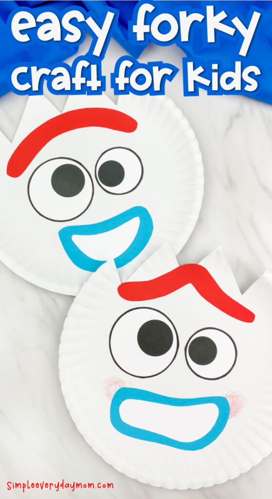 "closeup of paper plate forky craft with the words ""easy forky craft for kids"" on top"