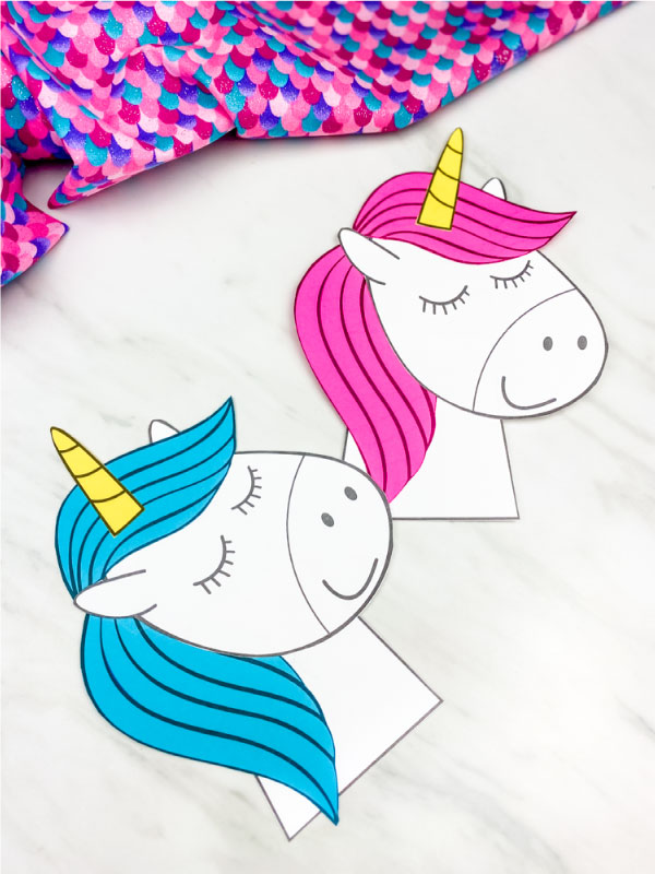 blue and pink unicorn craft