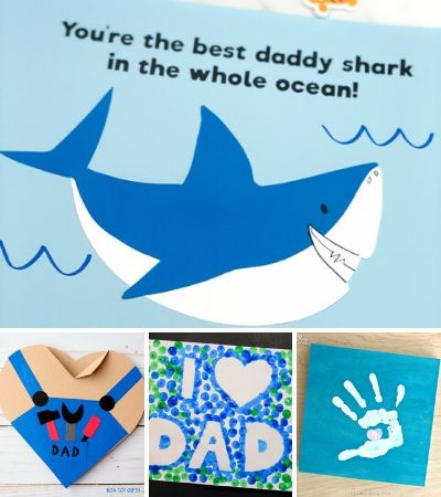 collage of father's day craft images