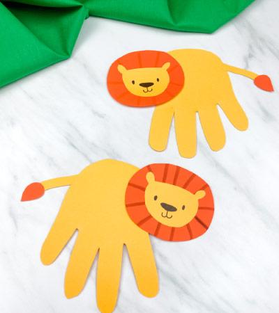 handprint lion crafts