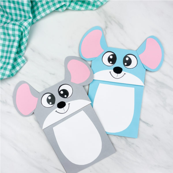 gray and blue paper bag mouse puppets