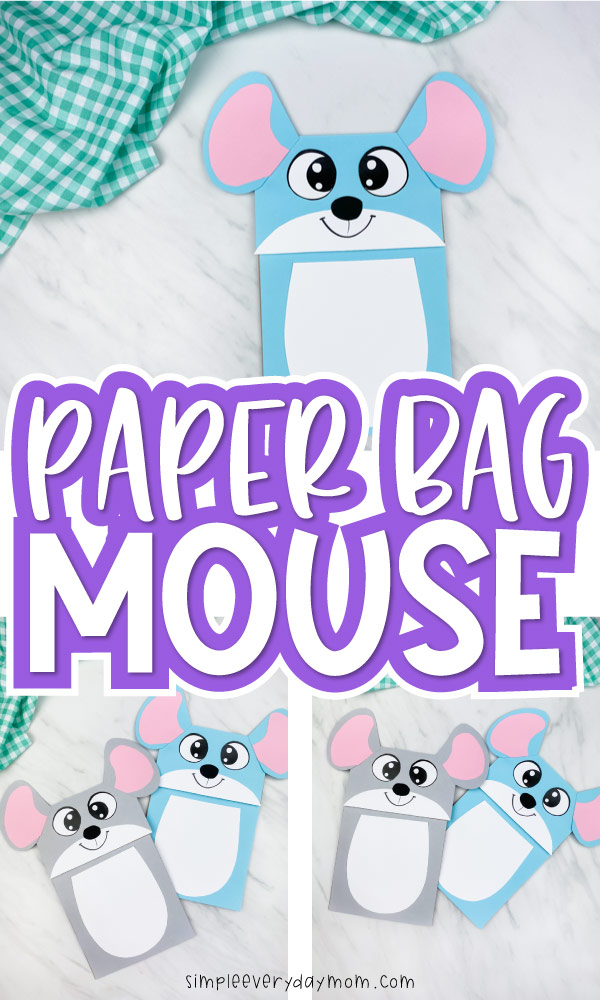 "collage images of paper bag mouse craft with the words ""paper bag mouse"" in middle"