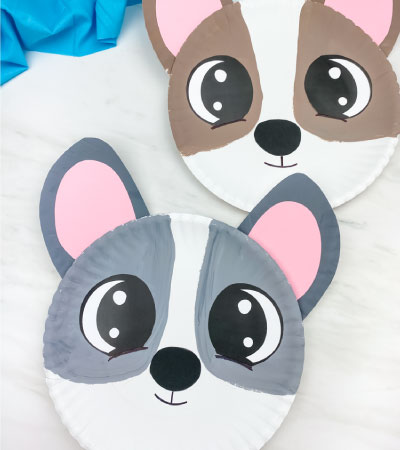 brown and gray paper plate dog crafts