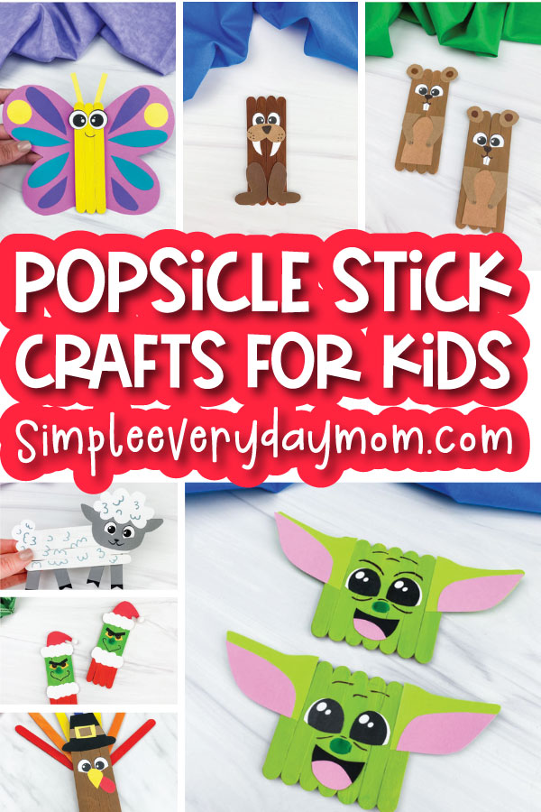 collage of popsicle stick crafts for kids with the words popsicle stick crafts for kids in the middle