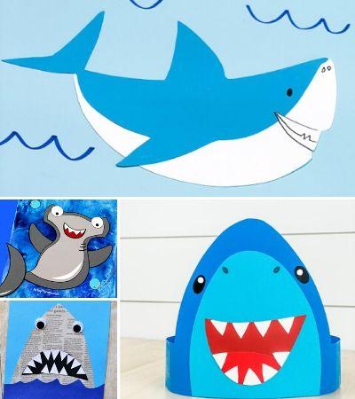 shark craft image collage