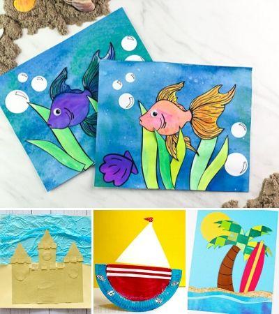 collage of summer crafts for kids images