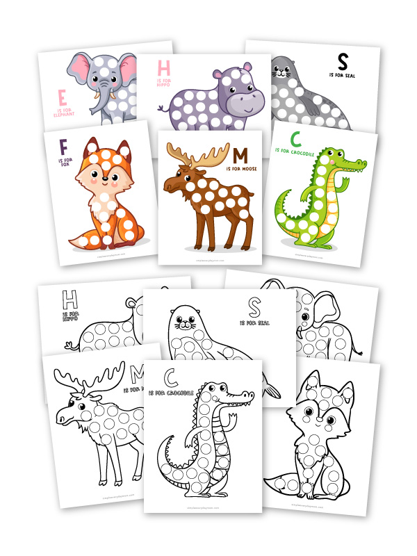 color and black and white images of animal do a dot printables