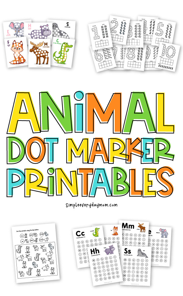 "animal dot marker printable collage with the words ""animal dot marker printables"" in the middle"