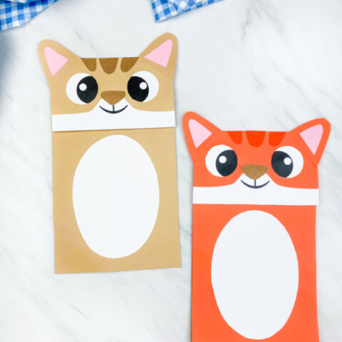 brown and orange paper bag cat puppet