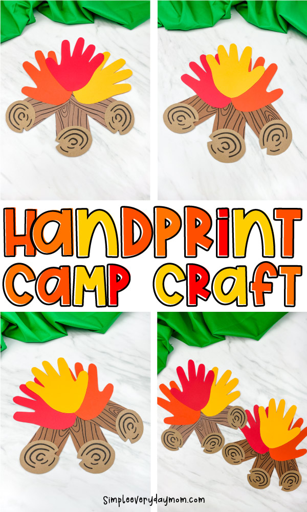 collage of handprint campfire craft with text in middle