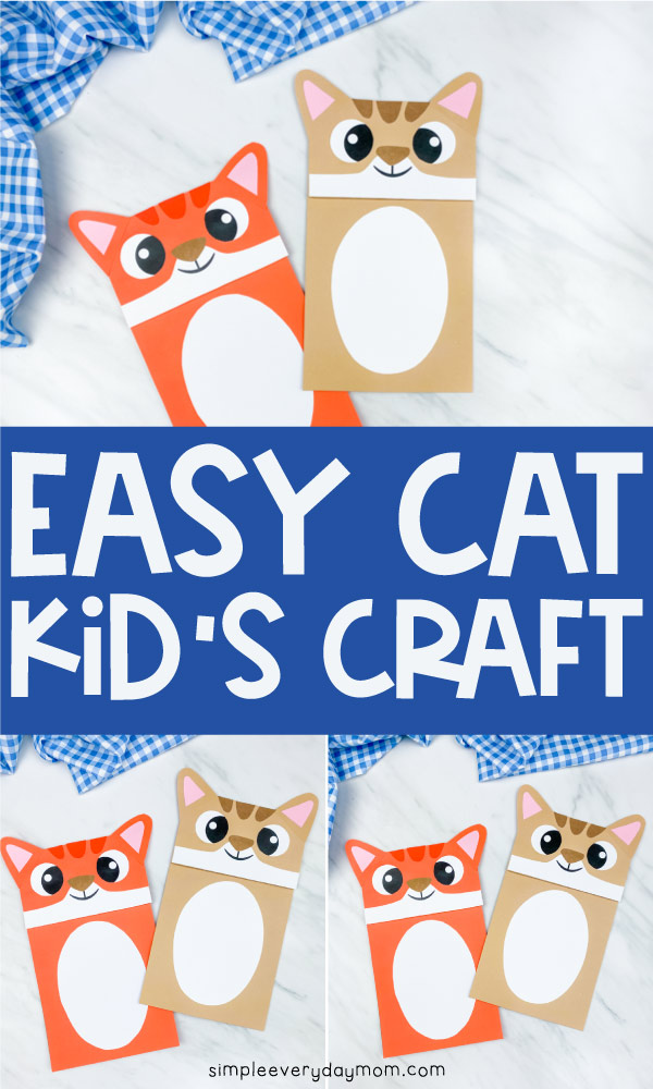 "collage of paper bag cat puppets with the words ""easy cat kid's craft"" between them"