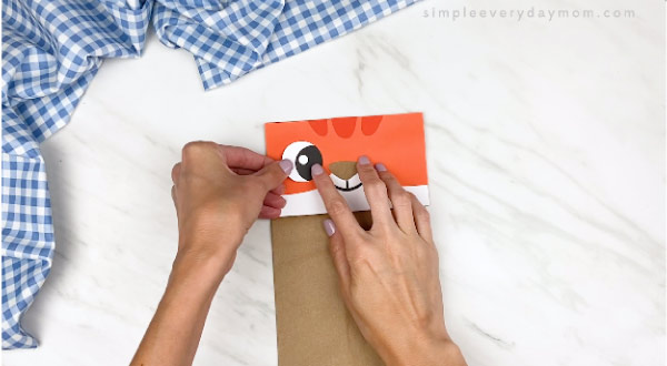 hands gluing on white eye onto cat paper bag craft