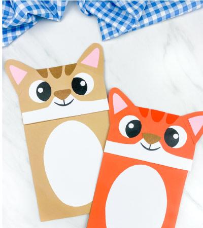 brown and orange paper bag cat crafts