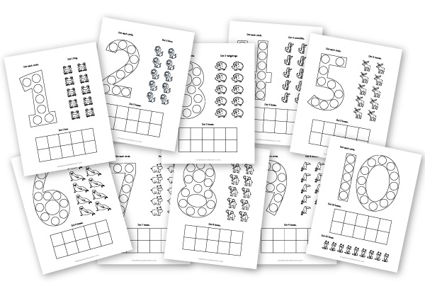 black and white counting do a dot worksheets