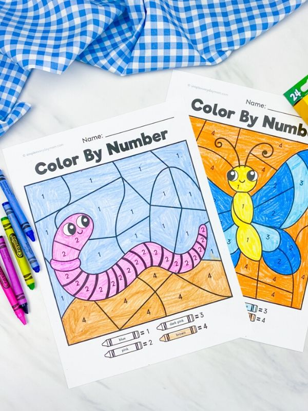 earthworm and butterfly color by number worksheets colored in with crayons