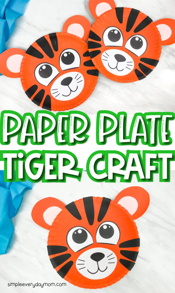 collage image of paper plate tiger craft with words in between